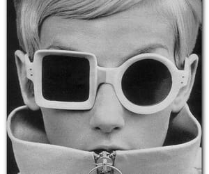 glasses, black and white, and twiggy image