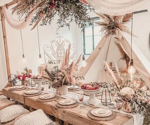 dinner party, flowers, and table setting image