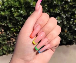 acrylic, nails, and rainbow image