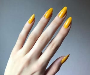 nails, yellow, and girl image