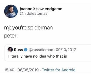 Avengers, tweet, and far from home image