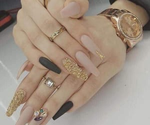 black, nails, and golden image