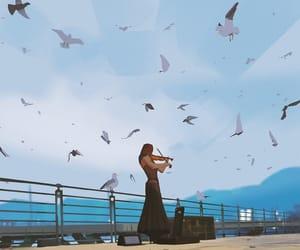 art, birds, and instrument image