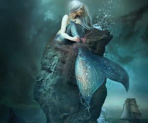 fantasy, stormy, and mermaid image