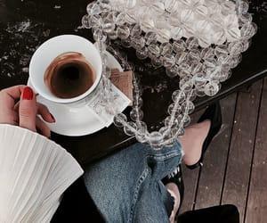 bag, coffee, and girl image