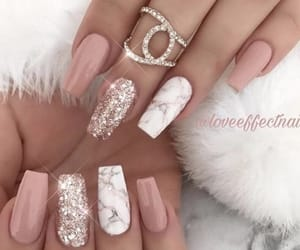 long nails, marble nails, and marble image