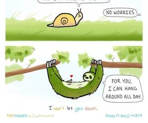 comic, sloth, and snail image