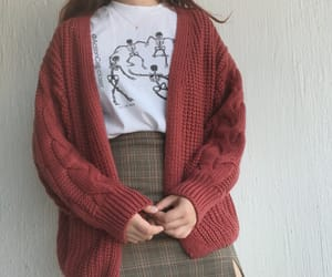cardigan, fashion, and graphic tee image