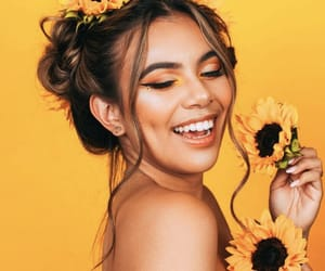 beauty, sunflower, and yellow image