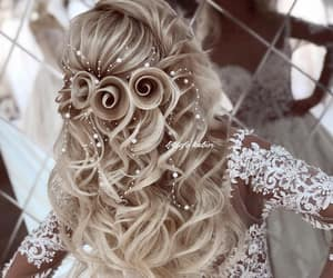curly hair and wedding hairstyle image