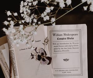 black, florals, and books image