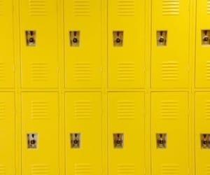 yellow, locker, and aesthetic image