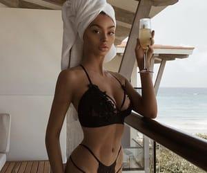 beach, kristenhancher, and black bikini image