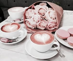 coffe, rosegold, and flowers image