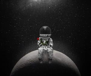 space, astronaut, and moon image