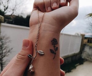 tattoo, rose, and necklace image