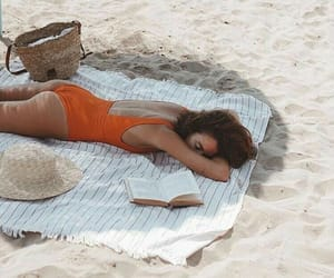 beach, book, and swimsuit image