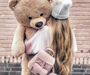 girl, hug, and teddy image