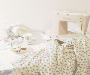 vintage, flowers, and sewing machine image