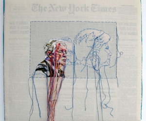 colors, embroidery, and newspaper image