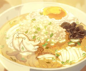 anime, udon, and yellow background image