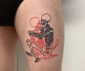 skeleton, tattoo, and skeletons image