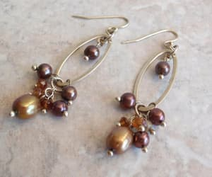 costume jewelry, pearl dangle earring, and etsy image