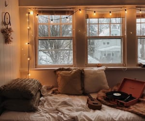 cozy, lights, and bedroom image