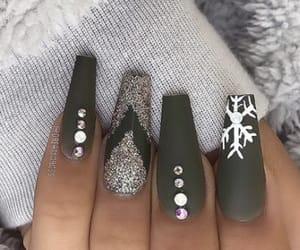 green, green nails, and nails image