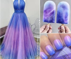 beauty, purple dress, and purple nails image