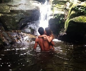 couple, waterfall, and landscape image