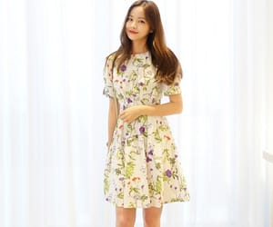 a-line, floral dress, and korean fashion image