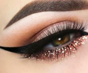 eye lashes, glitter, and eye liner image