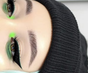 beanie, green eye makeup, and fuentes_legna image
