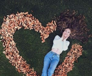 girl, heart, and autumn image