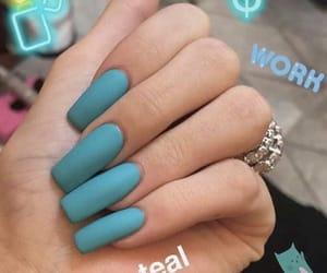 aqua, aqua blue, and teal nails image
