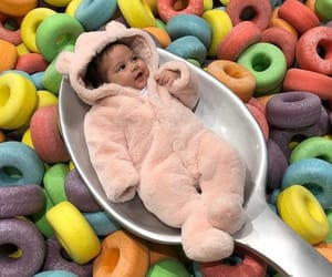 baby, funny, and breakfast image