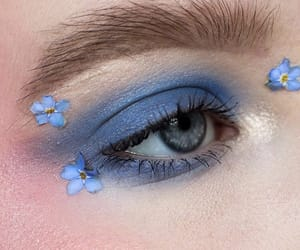 flowers, blue, and eyeshadow image