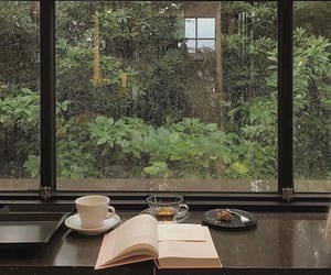 book, rain, and coffee image