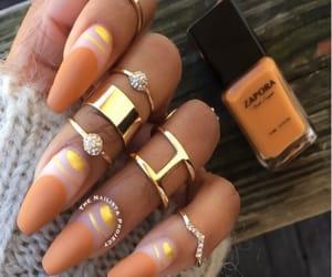 acrylic, gold, and nail image