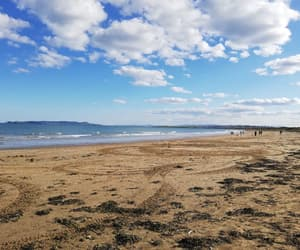 beach, walk, and clouds image