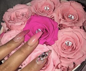 flores, rosa, and nails image