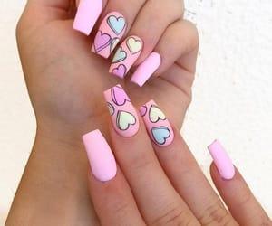 nails, pink, and unhas image