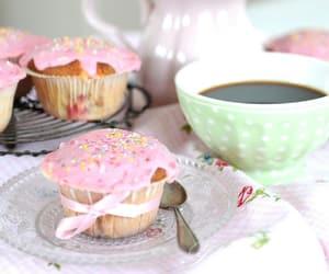 flowers, coffee, and cupcake image