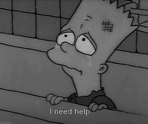 help, sad, and simpsons image