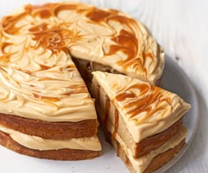 cake, caramel, and food image