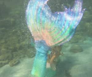 mermaid, art, and rainbow image