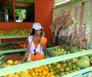 fruit, girl, and green image