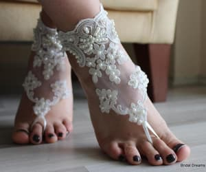 accessories, beach shoes, and wedding barefoot image