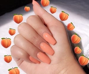 nails, peach, and orange image